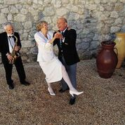 Dancing elderly couple